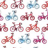 Illustration drawing seamless pattern with blue, purple, red bicycle. Go right in chequerwise Stock Photography