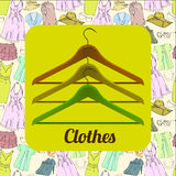 Illustration of drawing Set Summer clothes for women with hanger. Natural, trendy color. Girl vacation for Sale and Stock Images