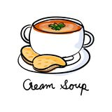 Illustration drawing style of cream soup Stock Photos