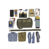 Illustration Drawing Travel Pack Collection. Illustration Clothe Accessories Drawing Travel Pack Collection Stock Image