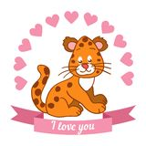 Illustration drawn by animal declaration of love Royalty Free Stock Image