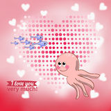 Illustration drawn by animal octopus declaration of love Stock Image