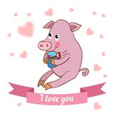 Illustration drawn by animal pig declaration of Royalty Free Stock Photography