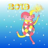 The illustration is drawn for the New Year, the year of the Pig 2019. royalty free illustration