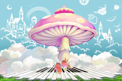 Illustration: The Dream World of Happy Life. Doodled Castle, Fruit in the Sky. Stock Photography