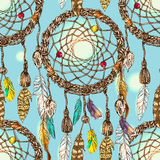 Illustration of dreamcatcher. Beautiful hand drawn vector boho style illustration of dreamcatcher.Seamless pattern.  Use for postcards, print for t-shirts Stock Images