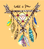Illustration of dreamcatcher. Beautiful hand drawn vector boho style illustration of dreamcatcher. Use for postcards, print for t-shirts, posters, wedding Royalty Free Stock Photography