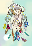 Illustration of dreamcatcher. Beautiful hand drawn vector boho style illustration of dreamcatcher. Use for postcards, print for t-shirts, posters, wedding Stock Photos