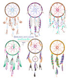 Illustration with dreamcatchers, hand drawn in watercolor on a white background Royalty Free Stock Image