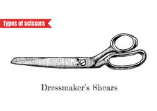 Illustration of dressmakers shears. Vector hand drawn illustration of sewing and clothes-making scissors in vintage engraved style. Dressmakers shears isolated Stock Images