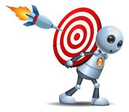 Little robot carry target symbol Royalty Free Stock Photo