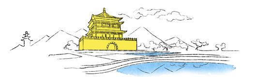 Illustration of the drum tower. In Shinai royalty free illustration