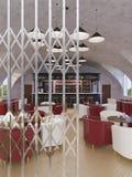 Illustration du concept 3d, café de conception intérieure illustration stock