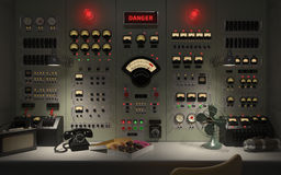 Illustration du concept 3D de fond de salle de commande de vintage image libre de droits