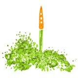 Illustration du concept d'un mode de vie sain Carottes avec fanes, décollant comme une fusée Commencer nouveau sain Photo libre de droits