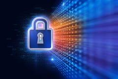 Illustration du concept de système de sécurité de cyber de Digital 3d Photo stock