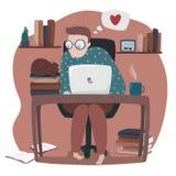 Illustration du fonctionnement humain sur l'ordinateur portable illustration de vecteur