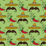Illustration du Mexique Sombrero de chapeau et moustache des hommes Configuration sans joint Photo stock
