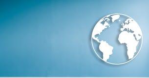 Illustration du monde sur le fond bleu de mur avec l'espace de copie illustration stock