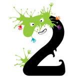 Illustration du nombre deux avec le monstre Nombres de conception réglés Photographie stock libre de droits