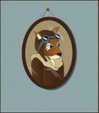 Illustration du renard pilote s'arrêtant sur le mur Photo stock