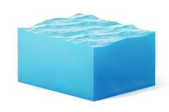 illustration du rendu 3d de la section transversale du cube en eau d'isolement sur le blanc avec l'ombre Image libre de droits
