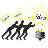 Illustration du travail d'équipe pour promouvoir l'idée Image stock