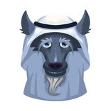 Illustration: Dubai arabisk klipsk affärsvarg på vit bakgrund stock illustrationer