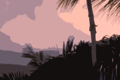 Different shades of a sunset in the sky, trees and poles in the foreground stock illustration