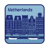 Illustration with Dutch house in Holland. Royalty Free Stock Images