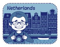 Illustration with Dutch house in Holland. Royalty Free Stock Photography