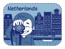 Illustration with Dutch house in Holland. Stock Photos