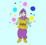 Illustration of dwarf with a flower Royalty Free Stock Images