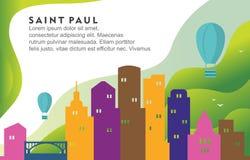Illustration dynamique de fond d'horizon de Paul Minnesota City Building Cityscape de saint illustration libre de droits