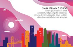 Illustration dynamique de fond d'horizon de San Francisco California City Building Cityscape illustration stock