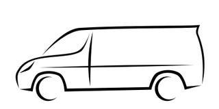 Illustration dynamique de vecteur d'un fourgon comme logo pour la livraison ou la société de messager photos stock