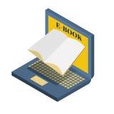 Illustration e-book, open laptop Stock Photo