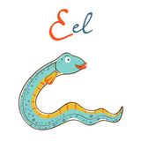 Illustration of E is for Eel Stock Photos