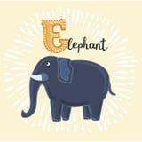 Illustration of E letter for Elephant. Vector illustration of elephant. E letter. Funny cartoon cute children animal in vector Stock Photo