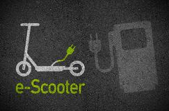 Illustration with e mobility e scooter transportation. Asphalt Illustration with e mobility e scooter transportation stock illustration
