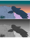 Illustration - Eagle is fling. Eagle in colors and white and black. Illustration for text: `But they that wait upon the LORD shall renew their strength; they royalty free illustration