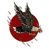 Illustration of eagle in old school tattoo style. Design element for poster, flyer, emblem, sign. Vector illustration stock illustration