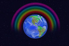 Illustration of earth. Seen from space; rainbow over earth Royalty Free Stock Photography