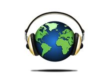 Illustration of earth globe and headphones Royalty Free Stock Image