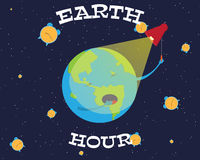 Illustration of Earth hour. Cartoon earth is going to turn off the lights vector illustration