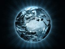 Illustration of the Earth with ray effect stock illustration