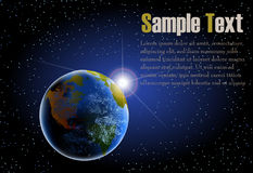 Illustration of earth from space. With sun rising and stars landscape vector illustration