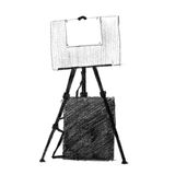 Illustration of easel and painting supplies royalty free illustration
