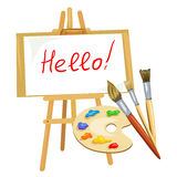 Illustration with easel, palette of paints and brushes Royalty Free Stock Images