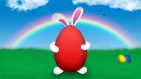 Easter Bunny holding easter egg stock illustration